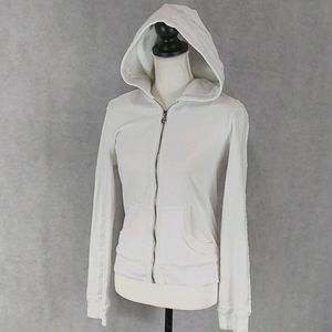 Twiseted Heart White Zipped Hoodie Beads S